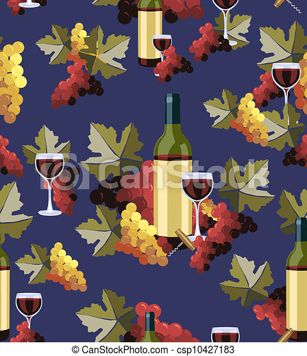 Bottle and glass wine seamless pattern - csp10427183