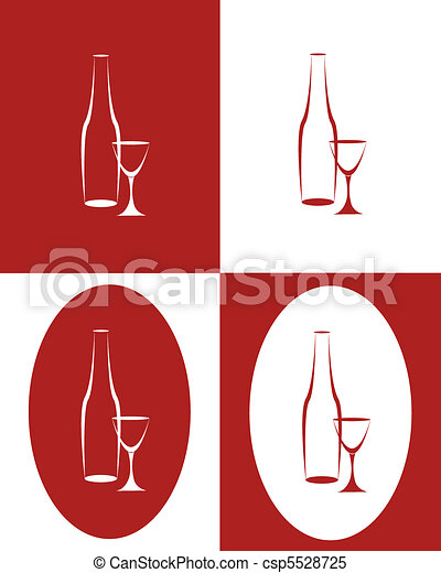 Bottle and tall wine glass - csp5528725