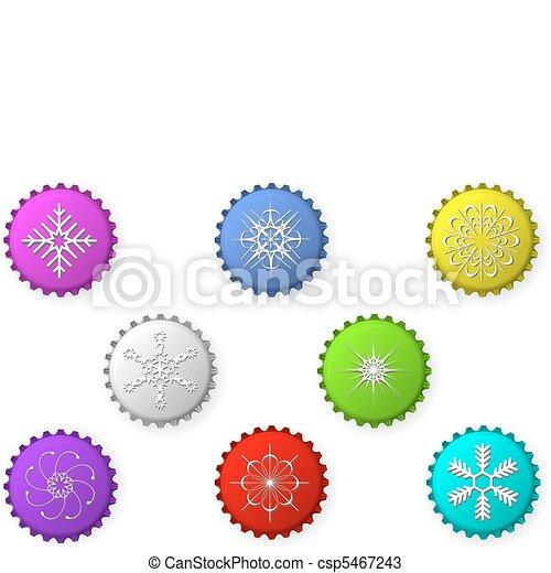 Bottle caps with snowflakes - csp5467243