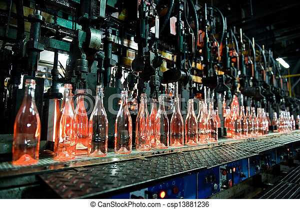 Bottle factory, row of glass bottles  - csp13881236