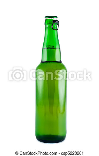 Bottle of beer a picture in studio isolated on white background. - csp5228261