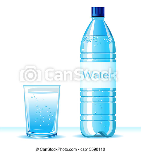 Bottle of clean water and glass on white background .Vector illustration for text - csp15598110