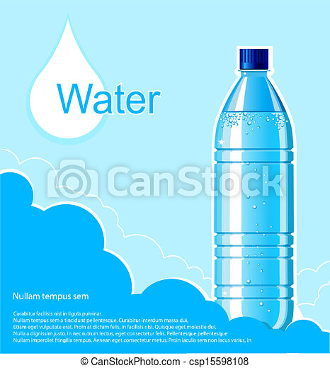 Bottle of clean water background.Vector illustration for text - csp15598108