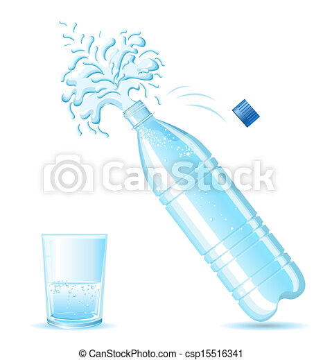 Bottle of mineral water splashing and glass  isolated on white background   for design - csp15516341
