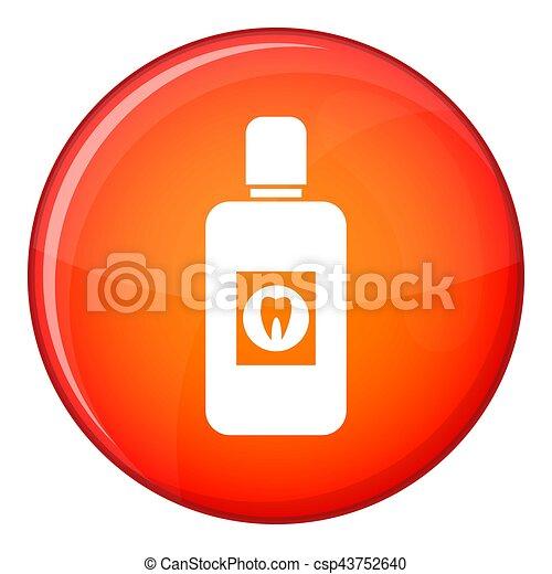 Bottle of mouthwash icon, flat style - csp43752640
