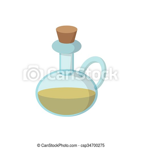 Bottle of olive oil icon, cartoon style - csp34700275