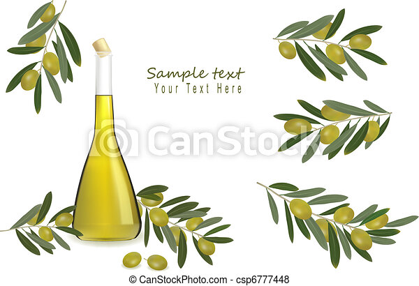 Bottle of olive oil with olives  - csp6777448
