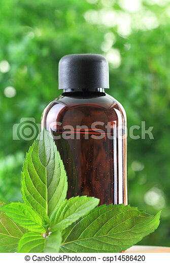 Bottle of Peppermint essential oil  - csp14586420