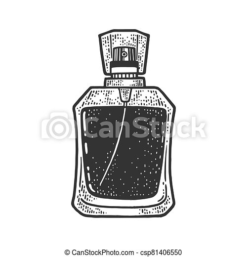 bottle of perfume sketch engraving vector illustration. T-shirt apparel print design. Scratch board imitation. Black and white hand drawn image. - csp81406550