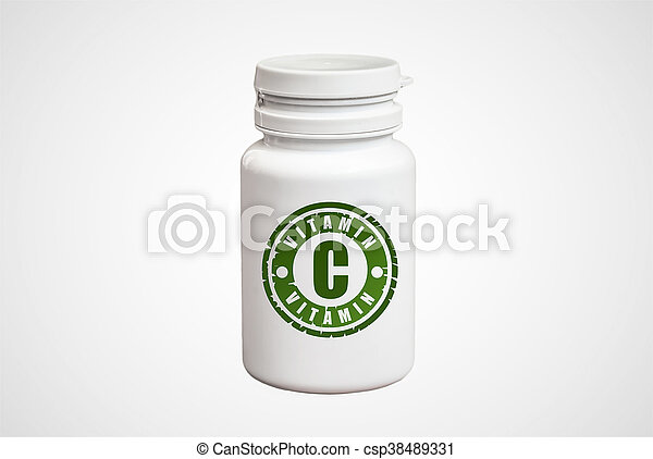 Bottle of pills with vitamin C - csp38489331