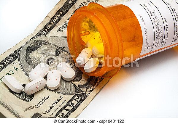 Bottle of prescription pills laying on money - csp10401122