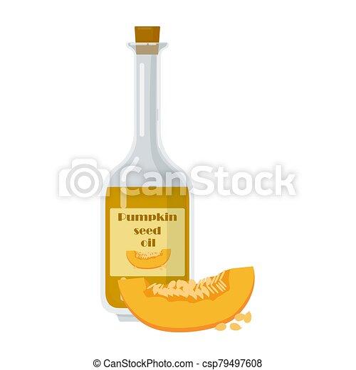 Bottle of pumpkin seed oil in cartoon style. - csp79497608