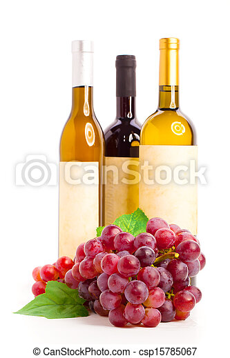 Bottle of red and  white wine with grapes, white background - csp15785067