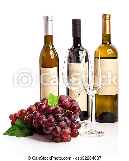 Bottle of red and white wine with grapes, white background - csp32284037