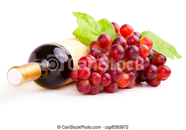bottle of red wine and grapes, isolated on white background. - csp8393972