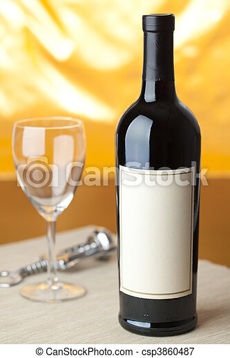 bottle of red wine - csp3860487