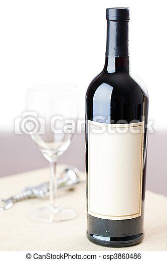 bottle of red wine - csp3860486