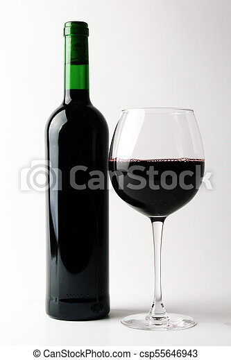Bottle of red wine with glass - csp55646943
