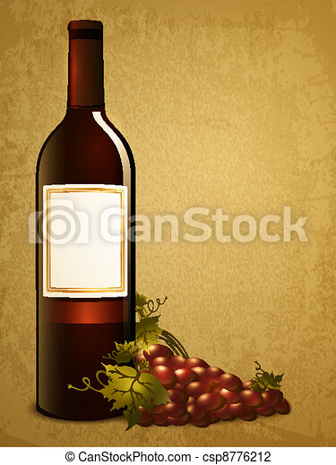 bottle of red wine with grape - csp8776212
