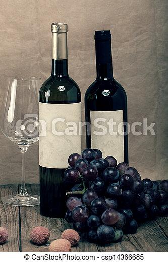 bottle of vine on wooden background - csp14366685