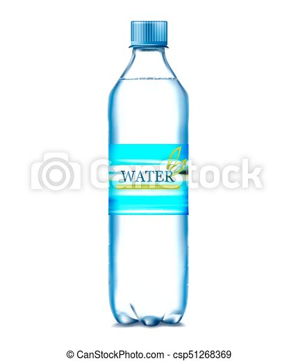 bottle of water on a blue background. Vector illustration - csp51268369