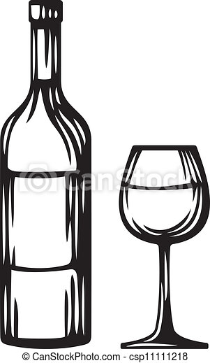 bottle of wine and glass - csp11111218