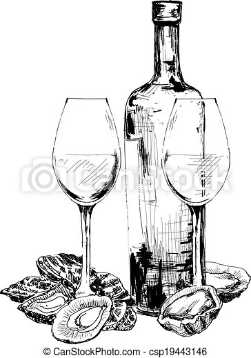 Bottle of wine, oysters and two glasses - csp19443146