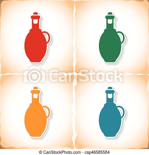 Bottle olive oil. Flat sticker with shadow on old paper - csp46585584