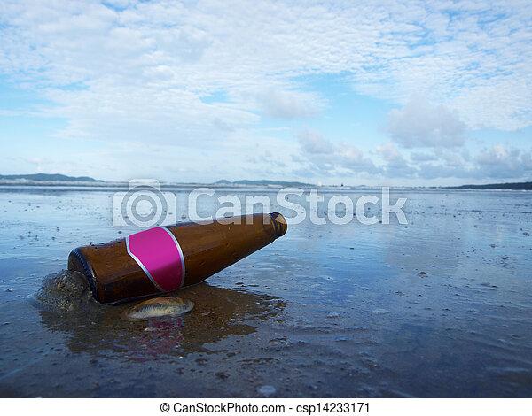 Bottle on the beach - csp14233171