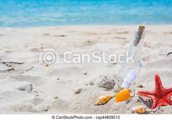 bottle on the beach - csp44809012
