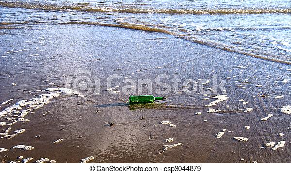 Bottle on the beach - csp3044879