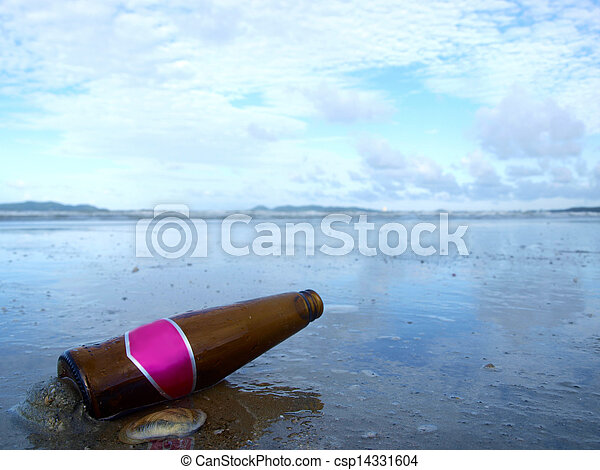 Bottle on the beach - csp14331604