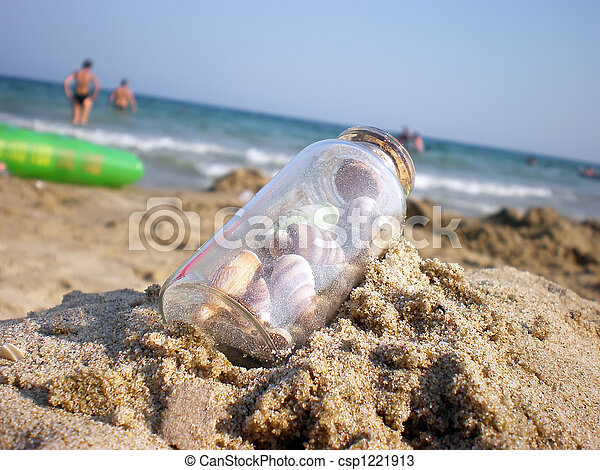 bottle on the beach - csp1221913