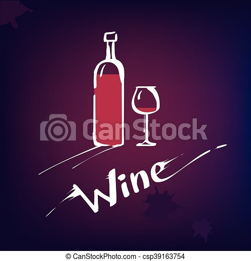 Bottle wine with glass - csp39163754