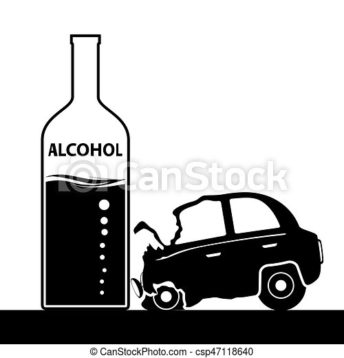 Bottle with alcohol, a car accident. drunkenness and... eps vector ...