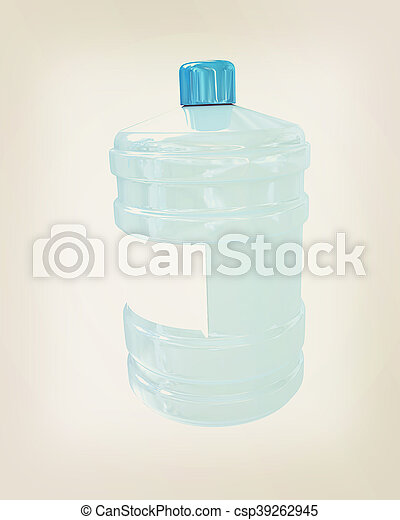 Bottle with clean blue water . 3D illustration. Vintage style. - csp39262945
