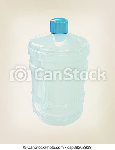 Bottle with clean blue water . 3D illustration. Vintage style. - csp39262939