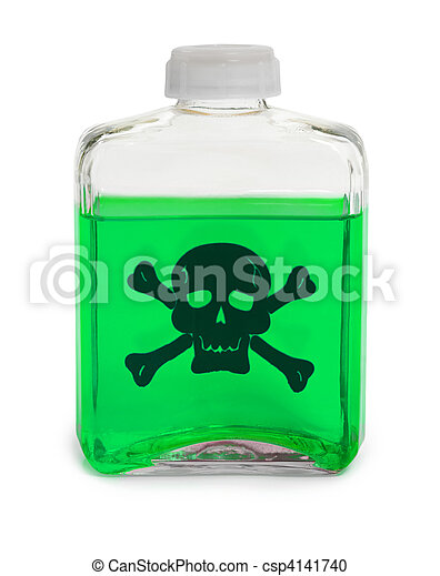 Bottle with green toxic chemical solution - csp4141740