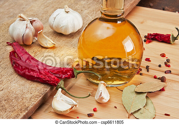 bottle with marinade and spices - csp6611805