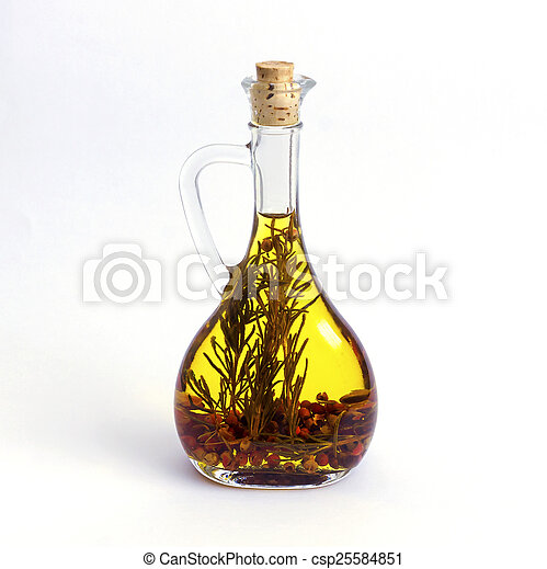 Bottle With Olive Oil And Herbs Isolated On White Background
