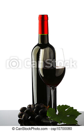 bottle with red wine and glass - csp10700080