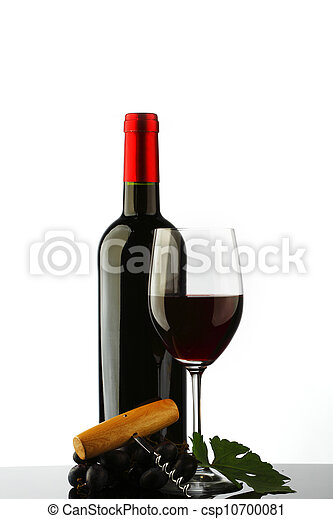 bottle with red wine and glass - csp10700081