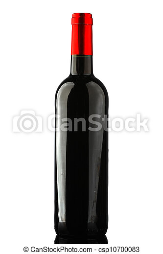 bottle with red wine and glass - csp10700083
