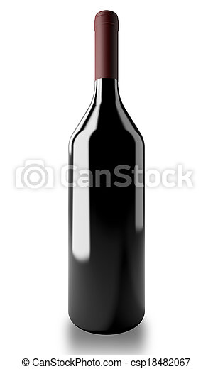 Bottle with red wine - csp18482067