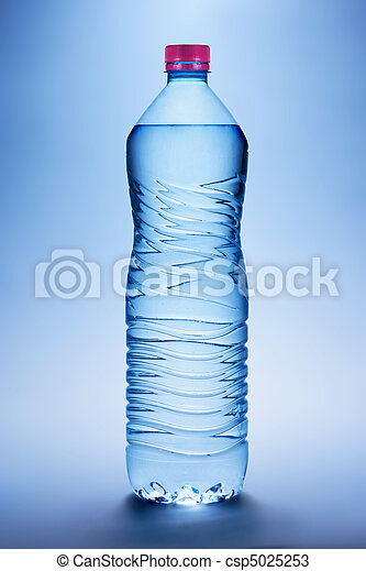 Bottle with water on a blue background - csp5025253