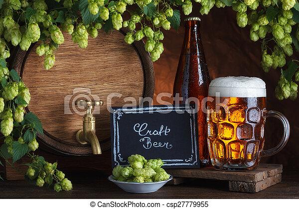 Bottled and unbottled beer  - csp27779955