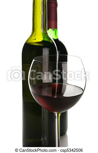 Bottles and glass of red wine - csp5342506