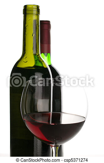Bottles and glass of red wine - csp5371274