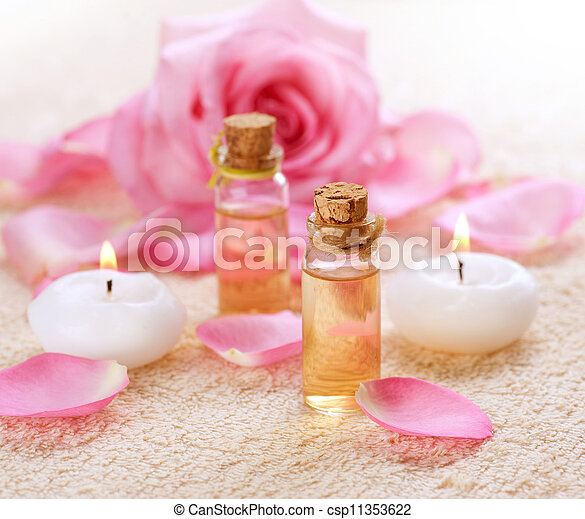 Bottles of Essential Oil for Aromatherapy. Rose Spa - csp11353622