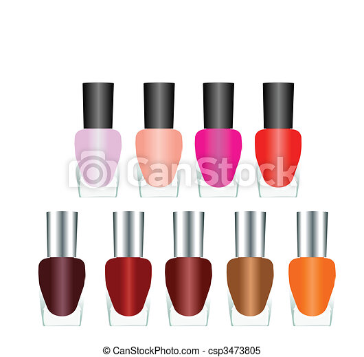 Bottles of nail polish in various bright colors on a white background. Vector - csp3473805